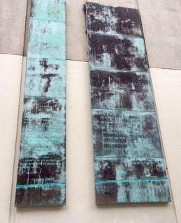 Mural de deux panneaux en bronze