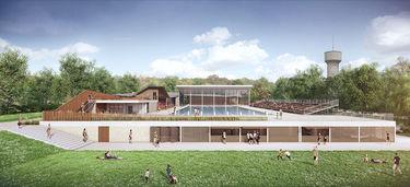 Piscine Pre Leroy : projet façade sud, équipe Brochet Lajus Pueyo