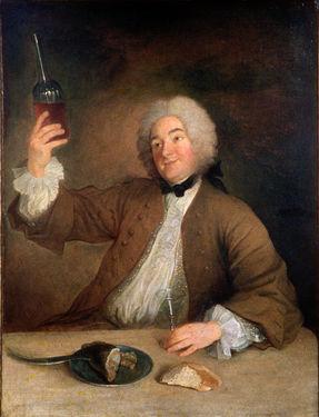 Le Marquis d'Artaguiette en buveur, huile sur toile de Jean Grimou