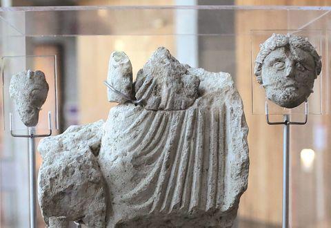 La statue d'Epona trouvée lors de fouille sur le site de Port-Boinot