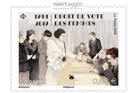 illustration de la manifestation Vente anticipée du timbre-poste Droit de vote des femmes 1944-2019