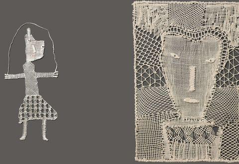 Création en dentelle : Portrait de femme au fond résille