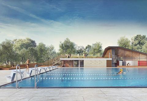 Piscine Pre Leroy : projet bassin extérieur, équipe Brochet Lajus Pueyo