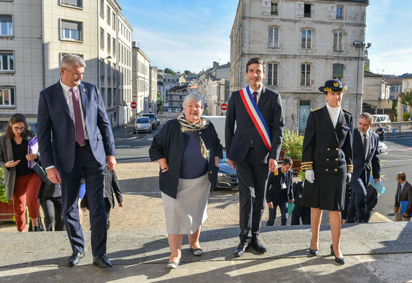 Jacqueline Gourault et Jérôme Baloge à l'Hôtel de Ville de Niort