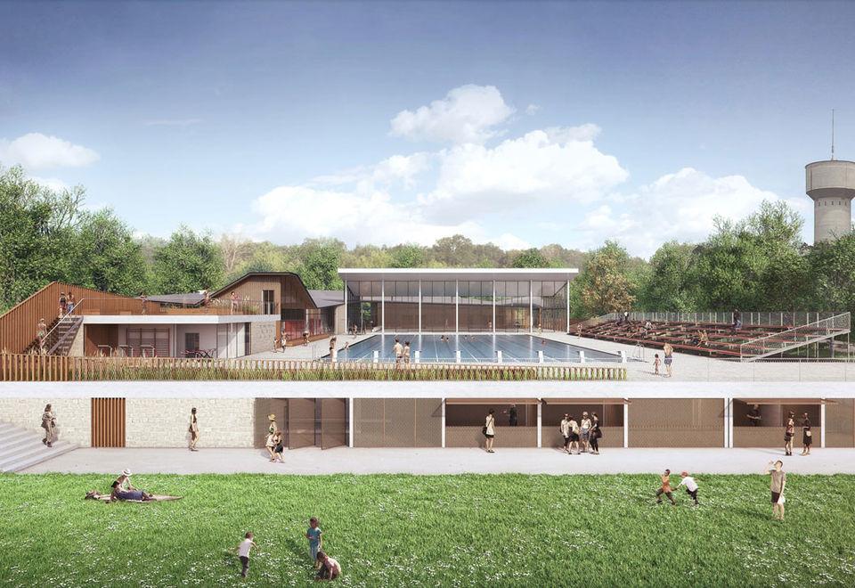 Vue aérienne de la piscine de Pré-Leroy
